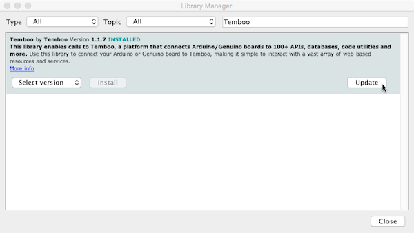Updating your Temboo Library in the Arduino IDE