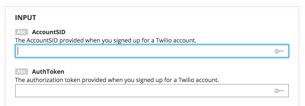 Twilio credential fields on the Choreo page