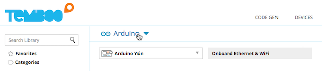 Selecting the Arduino Yún on the Choreo page.