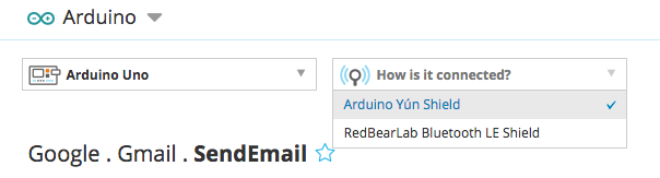Selecting the Arduino Yún Shield from the drop down menu