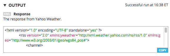 The Yahoo! Weather API response on the Choreo Page
