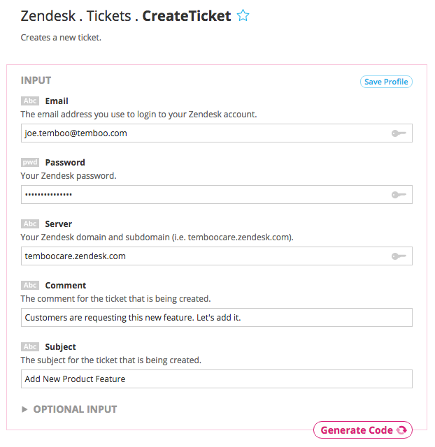 Example inputs for the Zendesk Create Ticket Choreo