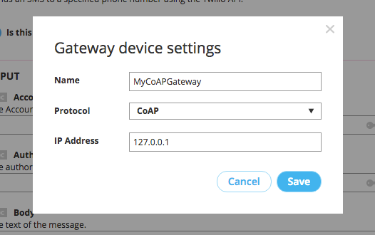 Enter and save CoAP gateway settings