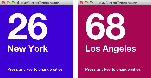 A screenshot of the finished sketch displaying temperatures for different cities.