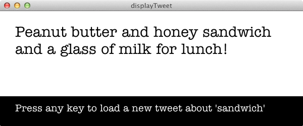 A screenshot of the finished sketch displaying a Tweet.