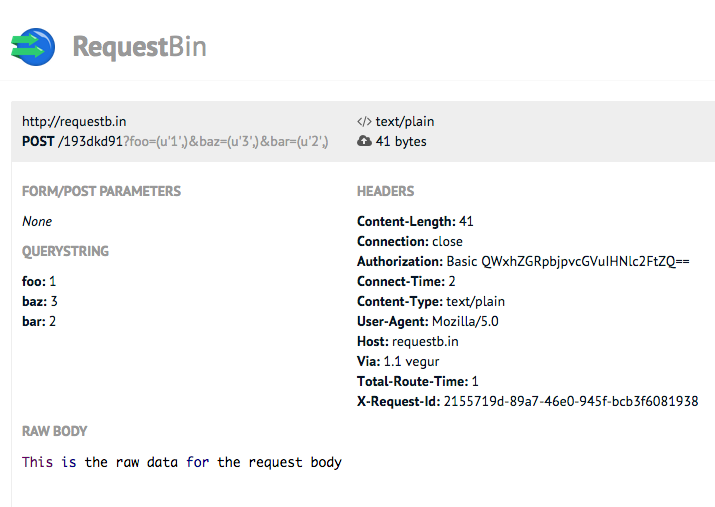Example of POST request data in RequestBin