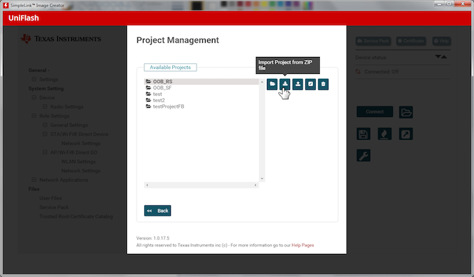Selecting Import Project from ZIP File