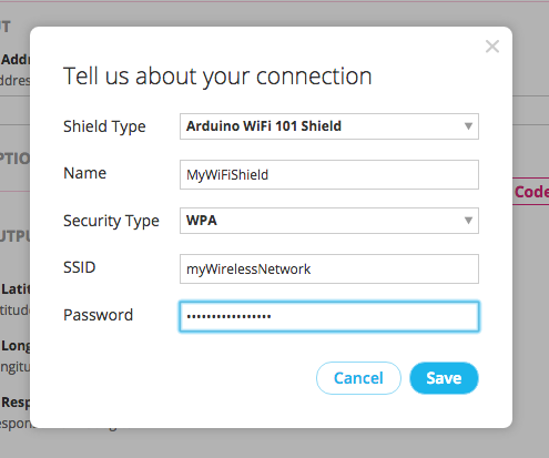 Setting up the WiFi shield configuration on the Choreo Page